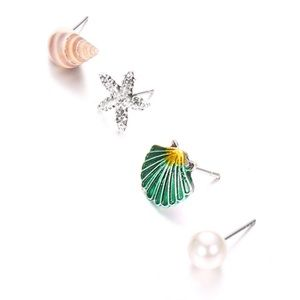 3/35 Set of 4 Beach Star Shell Stud Earrings